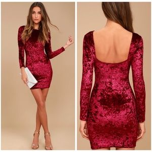 Lulu's True Story Red Velvet Dress | Large